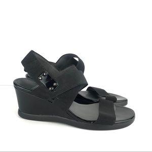 Shoes - Stuart Weitzman Black Elastic Wedge Sandals 7.5